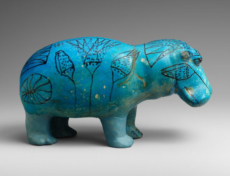 Hippopotamus Figure, ca. 1981–1885 B.C. Egyptian. The Metropolitan Museum of Art, New York. Gift of Edward S. Harkness, 1917 (17.9.1) | The dual qualities of destruction and creation imbued images of hippos with special magical power, and they were often deposited in tombs. #OneMetManyWorlds