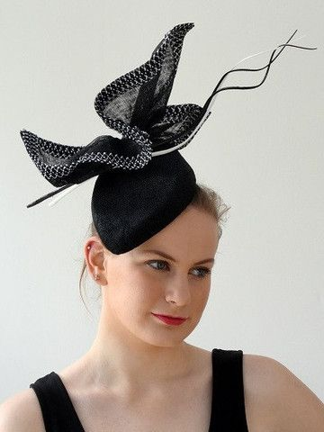 Angular black hat with sculpted bow and quills – Sassy Millinery Onlinestore