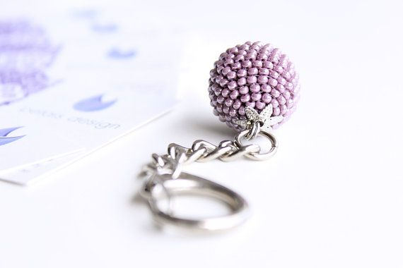 Purple Keyring, Keychain. Beaded Party Favour, Zipper Pull, Cute Charm, Key Fob, Unique Gift for Her, Thank You Gift
