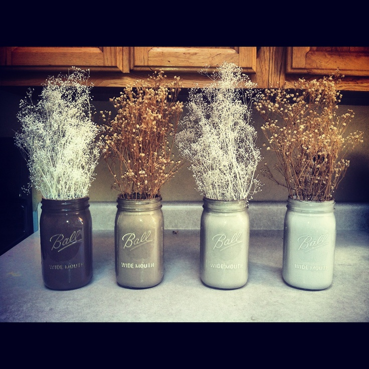 Mason jars painted on the insides, with flowers!