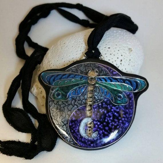 Yen Yang Polymer Clay Dragonfly Faux Cloisonne' by FriendzJewels