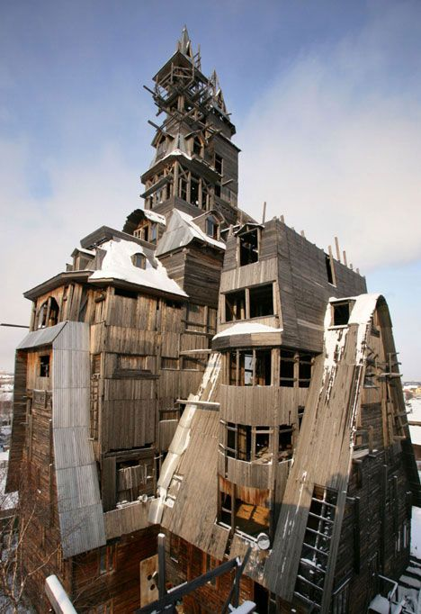 "Nikolai Sutyagin, a former gangster, began building this 'wooden skyscraper' in Arkhangelsk, Russia with the intention of it being only a two-story building. But, a trip to see wooden houses in Japan and Norway convinced him that he hadn't used roof space efficiently enough, so he kept building. ""First I added three floors but then the house looked ungainly, like a mushroom,"" he said. ""So I added another and it still didn't look right so I kept going. What you see today is a happy accident."""