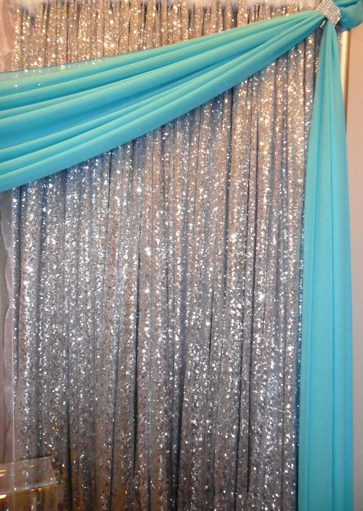 silver sequin backdrop with tiffany blue draping http://www.nor-valevents.com/