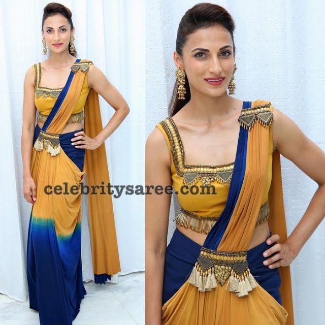 Shilpa Reddy Designer Saree In Tri Color Saree Saree Designs Tri Color