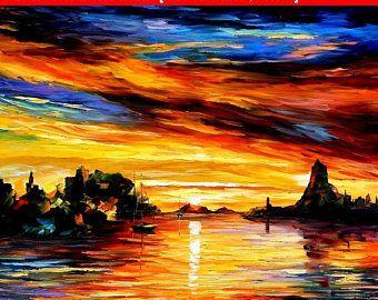 Lumière du matin  Palette couteau océan voilier Salon décor