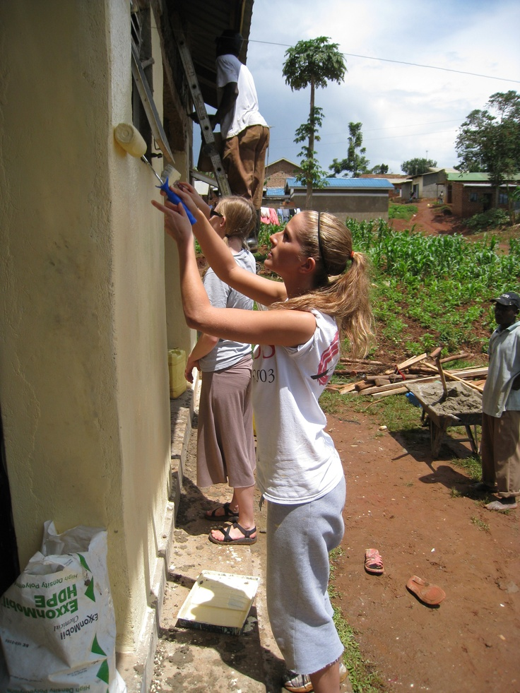Tri-S is a unique international and cross-cultural program that, by integrating service and learning, fosters spiritual, academic, and personal growth. Pictured here are students at a work camp in Uganda.