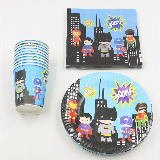 Food-Grade Papers Cups Borden Servetten Baby Douche Decoratie Wegwerp Kids Gunsten Verjaardag Super Hero Levert 32 stk/partij