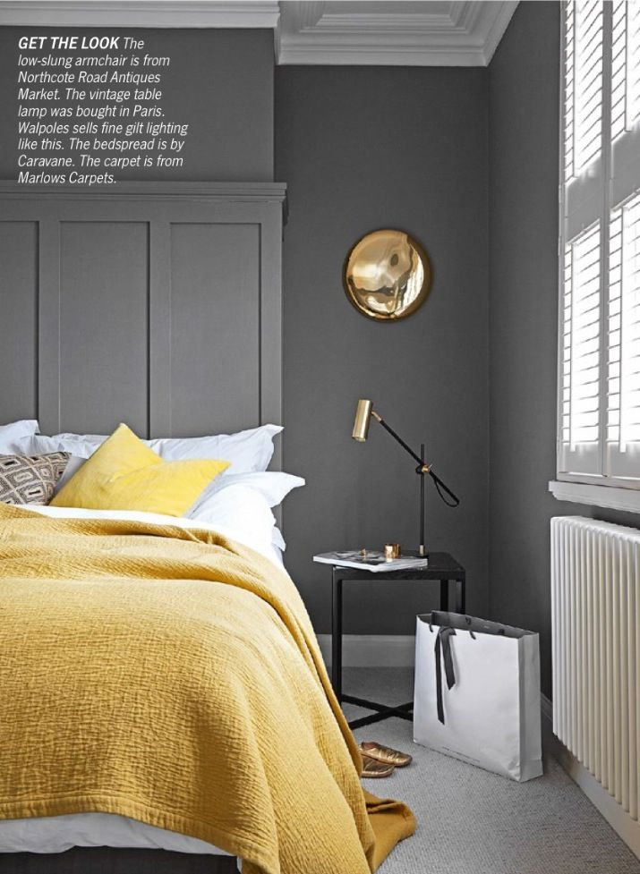 LOVE this color scheme to go with the fluidity of the living room colors: Grey and yellow bedroom