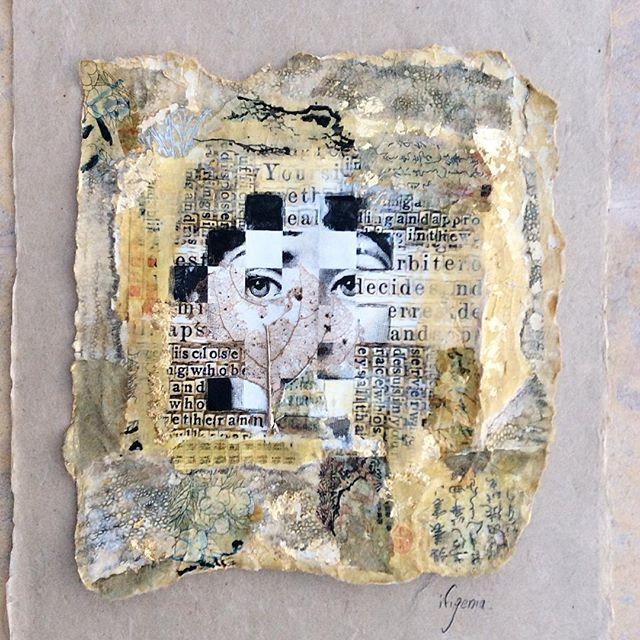 """No need for words"" mixed media collage  Artist: Ifigenia Christodoulidou #ifigeniaart #ifigenia #mixedmedia #wabisabi #mixedmediacollage #handmadepaper #goldleaf #japanesewriting"