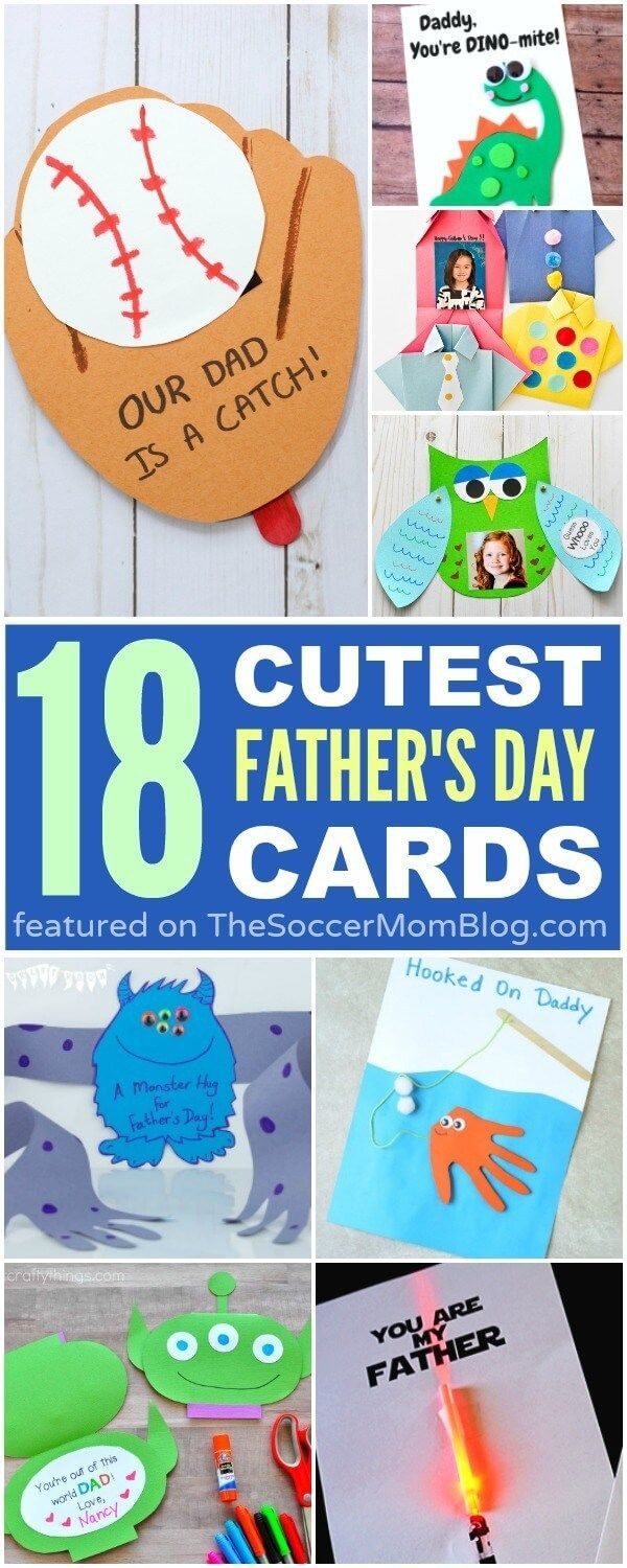 An awesome collection of more than 18 of the cutest kid-made Father's Day Ca...