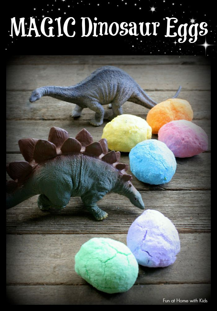 Just add water - and these MAGIC dinosaur eggs will fizz and bubble and hatch!  A super fun sensory experience or add them to a bath because they double as fizzing bath bombs!  From Fun at Home with Kids