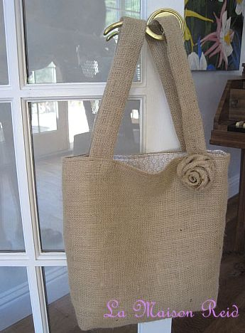 Make a burlap market bag tutorial.  AND 45 BEST FRENCH Spring Party, Crafts & Decor Tutorials EVER with their LINKS!!! GIFT, PARTY, EVENT, SPRING, WEDDING DECOR. Blog & Photos from MrsPollyRogers.com