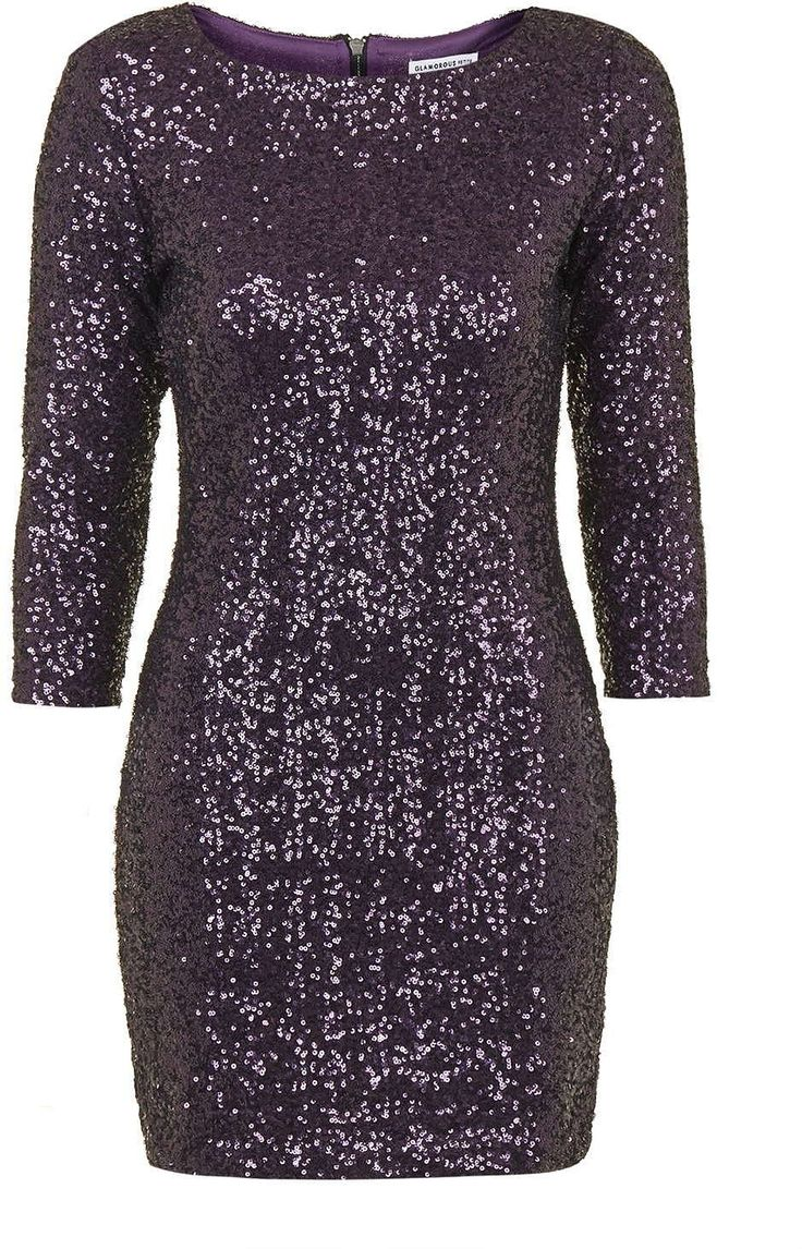 Womens aubergine sequin shift dress by glamorous petites from Topshop - £48 at ClothingByColour.com