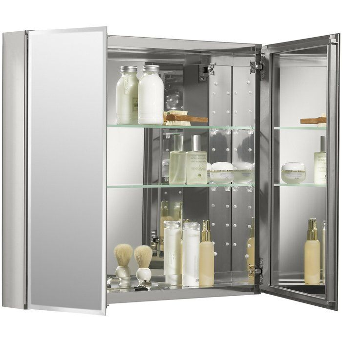 30 X 26 Aluminum Two Door Medicine Cabinet With Mirrored Doors
