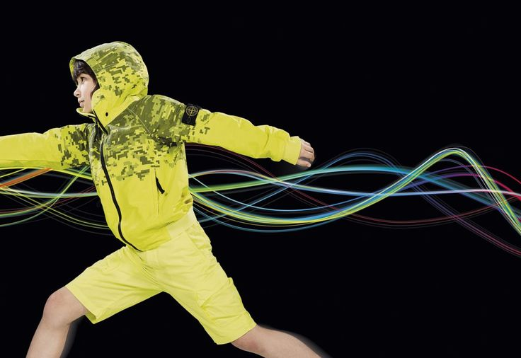 Neon yellow and digital prints at Stone Island Junior for spring 2017
