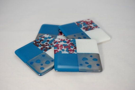 Whimsical Cranberry and Steel Blue with Metallic Fused Glass
