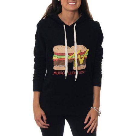 MTV Juniors' Burger Logo Draw String Graphic Hoodie Sweatshirt, Size: Medium, Black
