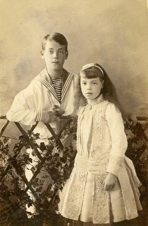 Grand Duke Michael Alexandrovich (1878 – 1918) and Grand Duchess Olga Alexandrovna (1882 – 1960), siblings of Nicholas II of Russia; 1880s. #Romanov