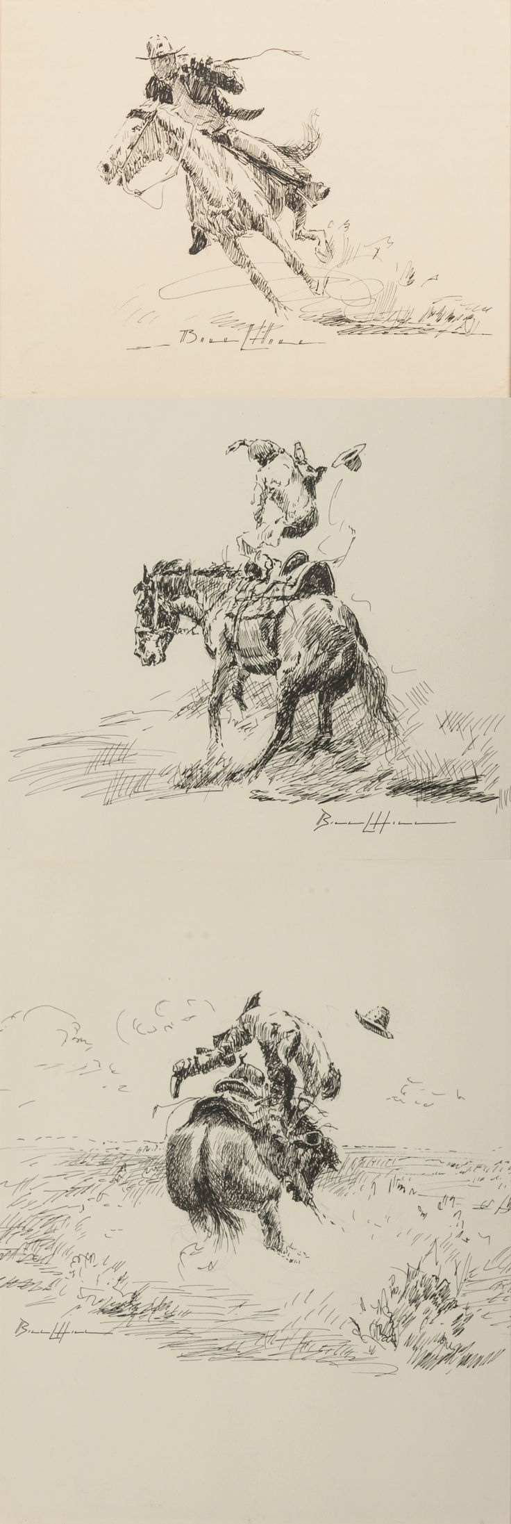 """William Hill (1922 - 2009) Three pen and ink drawings of cowboy scenes by William Hill: 6 1/2"""" x 8 1/2"""", 8 1/4"""" x 6 1/4"""" and 9"""" x 6 1/2"""" Each signed BILL L HILL, and all are framed."""