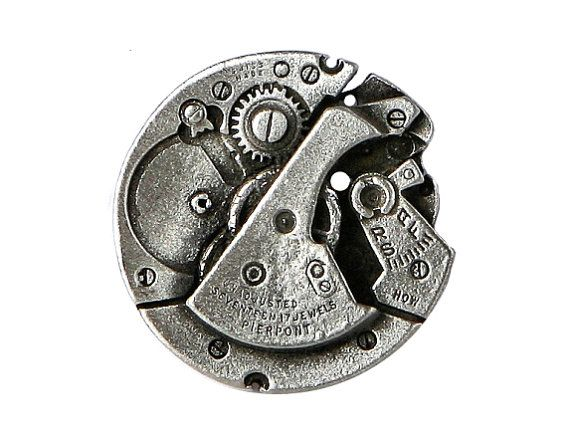 2 Steampunk Watch Pewter Metal Shank Buttons 1 inch by ButtonJones, $4.00
