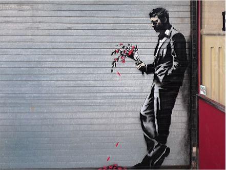 banksy man with flowers - Google Search | Graffiti Art ...