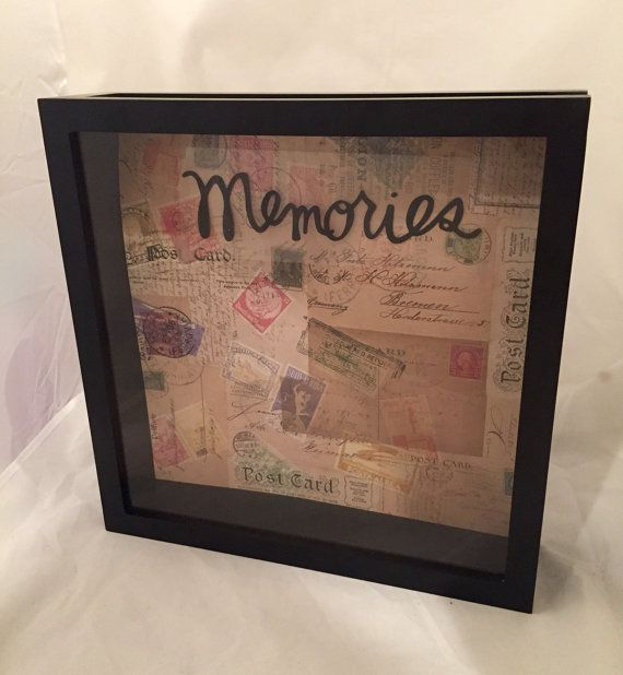 "Ticket Shadow Box (""Memories"" on Post Card Background), Ticket Stub Box, Wedding Gift, Travel Keepsake Box"