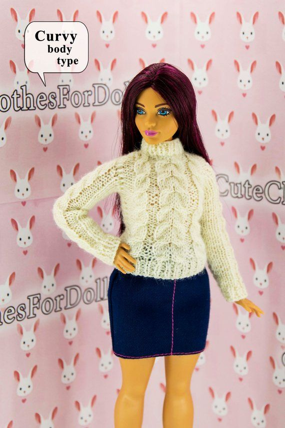 Barbie sweater. Fashion <b>doll</b> clothes. Handmade knitted white ...