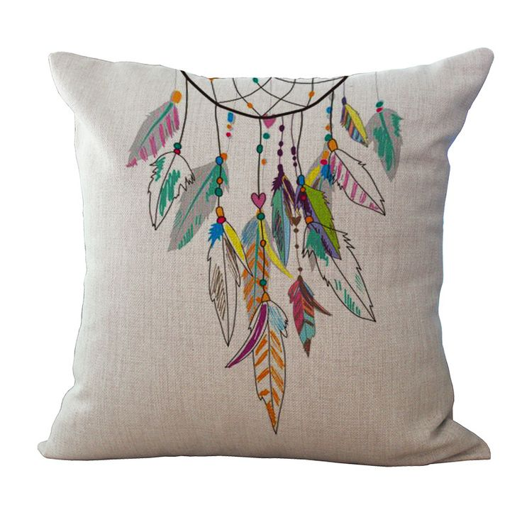 1pc Colorful Dream Catcher Painting Patterns Square Sofa Decorative Throw Pillow Case Home Cushion Covers Home Textile