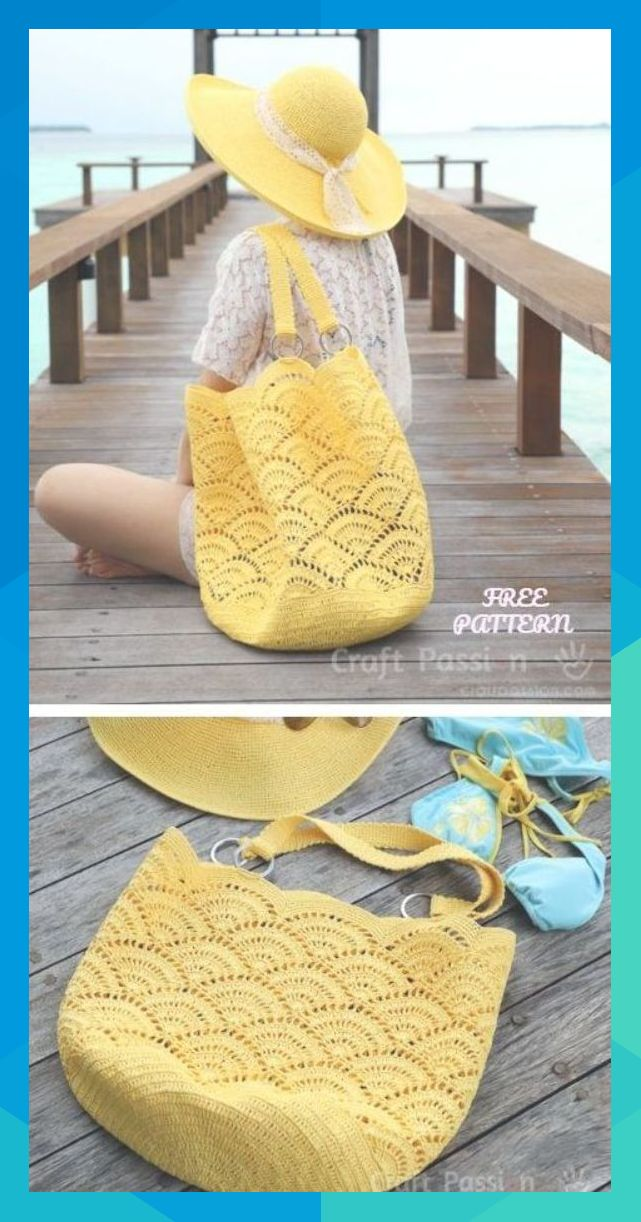 Crochet Shell Stitch Beach Tote Bag Free Crochet Pattern #medhurstdoyle387