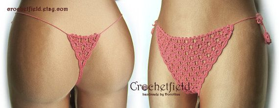 Sexy cinnamon crochet thong with beads g-string by Crochetfield