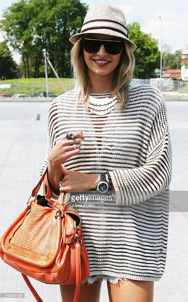 L'VIV, UKRAINE - JUNE 09: Lena Gercke, girlfriend of Sami Khedira is seen at the airport Lviv on June 9, 2012 in L'viv, Ukraine.