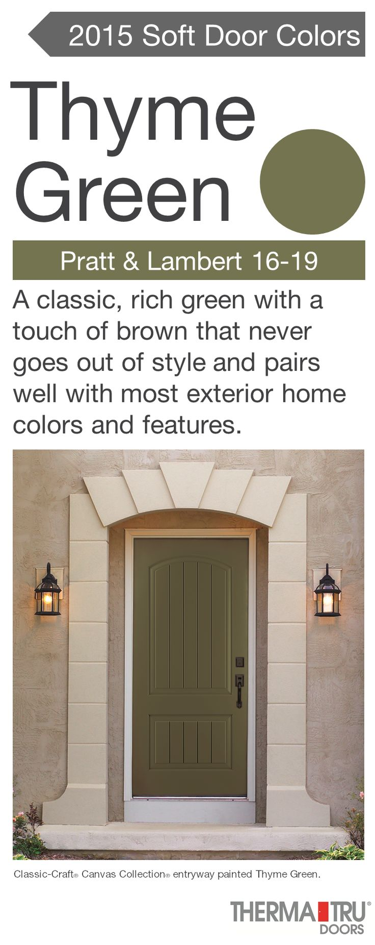 Painted front doors with sidelights - Classic Craft Canvas Collection Fiberglass Door Painted Thyme Green One Of The Hot Door