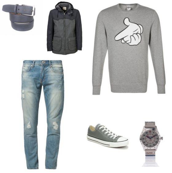 Street Style Look outfit - Street style - Deze look is sportief en perfect voor een regenachtige dag. De jas van Selected homme zorgt ervoor dat je droog blijft. De trui van Crooks & Castles en de jeans van LTB passen goed bij de jas en zorgen voor een sportieve, jeugdige look. De outfit is af met de schoenen van Converse, het horloge van Superdry en de riem van Suitableshop.