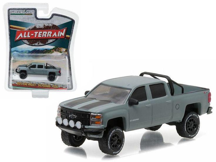 "2015 Chevrolet Silverado 1500 Grey Pickup Truck \All Terrain\"" Series 4 1/64 Diecast Model Car by Greenlight"""