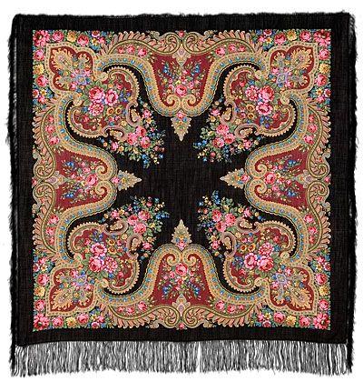 Шали 125х125 : У камина 1154-18, павлопосадский платок шерстяной с шелковой бахромой