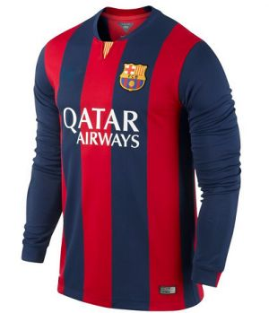14-15 Football Shirt Barcelona Cheap Home Long Sleeve Jersey [166]