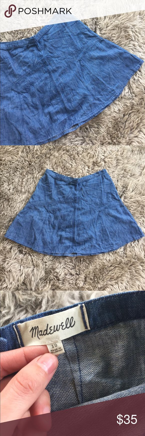 Madewell blue linen and cotton mini skirt size 10 Beautiful easy basic. Indigo blue cotton and linen mini skirt. Size 10. Gently preloved condition. Please take a look at the pictures for better reference. Madewell Skirts Mini