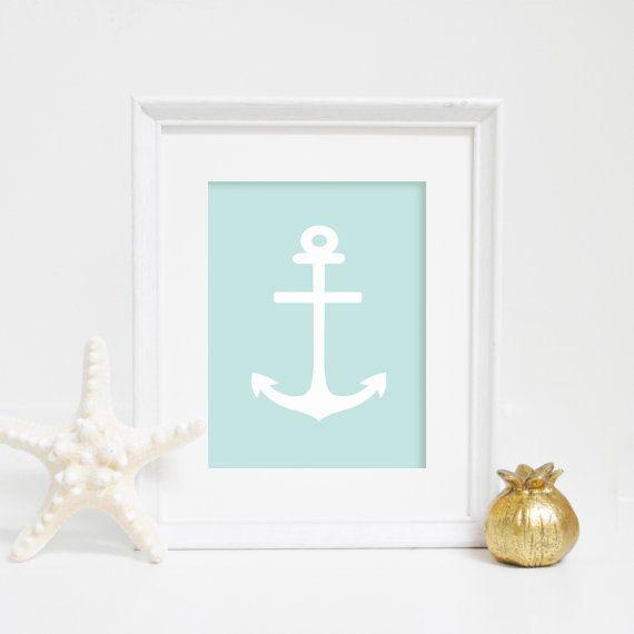 Coastal Art, Nautical Anchor Wall Print, Mint Print, Anchor Art, Printable Art, Digital Print, Anchor Print, Nautical Decor, Mint Anchor