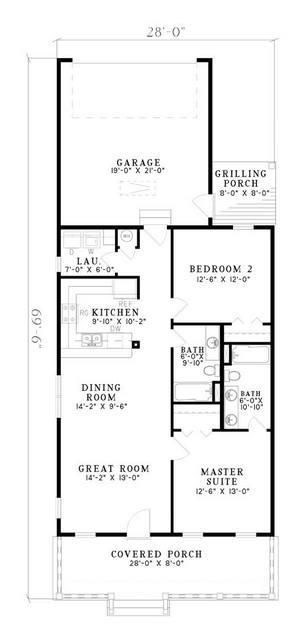 House Plan 100-00600 - Floor plan - Colonial Plan - 2bd/2bath main living floor.