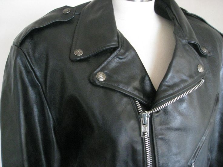 Schott NYC Vintage Perfecto 418 Black Leather Motorcycle Jacket Ramones Rocket to Russia Biker Coat Punk Rock USA Cowhide Mens Large size 42 by DutchUncleVintage on Etsy