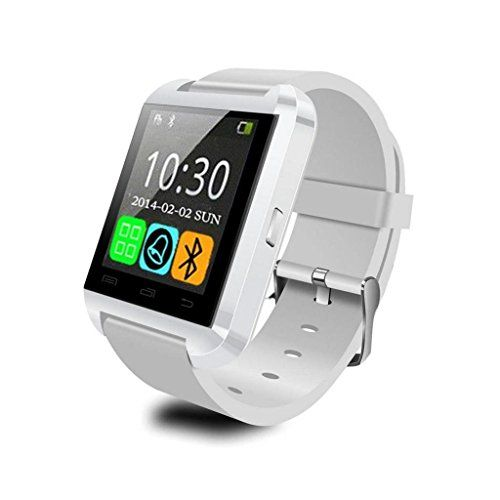 awesome Generic U Watch U80 SmartWatch Bluetooth 3.0 Silicone Wristband for Apple iOS smartphone iphone 4 / 4S / 5 / 5C / 5S / 6 Android Samsung S2 / S3 / S4 / Note 2/3 Note HTC Huawei (White)