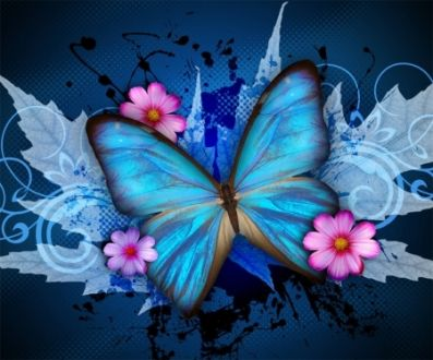 Blue Wings - Blue, Butterfly, Flower, Pink, Splash, Deep, Black, Bright, Colorful, Animal