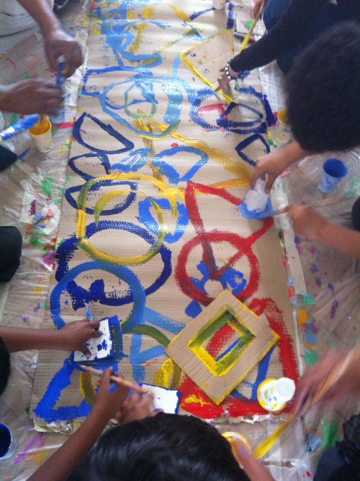 School children use shapes to create artwork for Pop Up Festival 2012 with Hervé Tullet