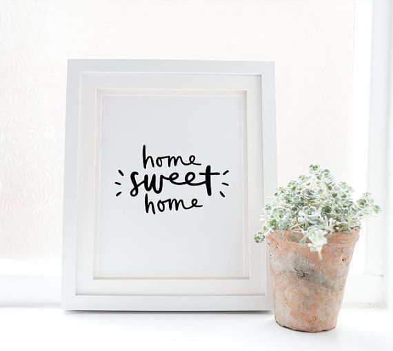 home sweet home print // black and white hand by spellandtell
