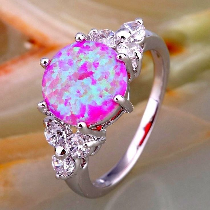 Details about Pink Fire Opal And White Cubic Zirconia In White Gold Filled Ring…