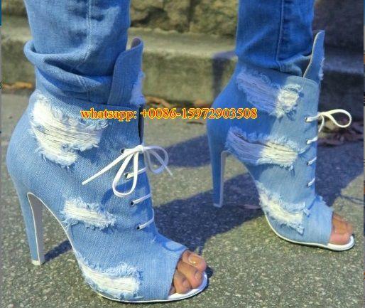 Mujeres cielo azul denim de alta botines de tacón de lujo de estilo retro ripped jeans botines sandalia de punta abierta lace up short botas en Botines de Zapatos en AliExpress.com | Alibaba Group