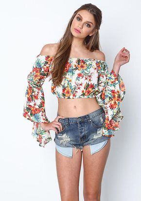 Ivory Tropical Print Bell Crop Top