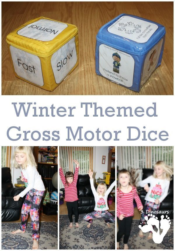 FREE Snowy Winter Gross Motor Dice for Indoor Fun - 6 winter movements on a dice with a speed dice. - http://3Dinosaurs.com