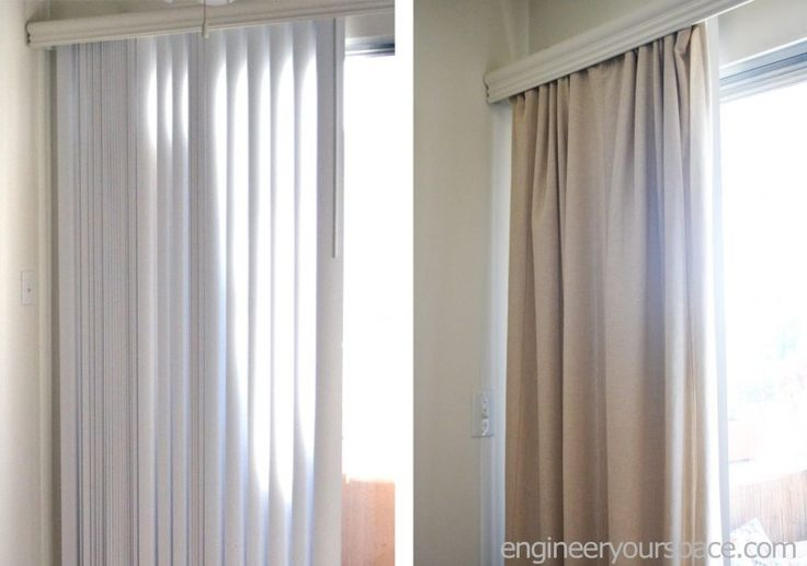 How to conceal vertical blinds with curtains - no tools or extra hardware needed!