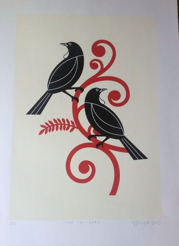 """Two tui - ecru"" limited edition screenprint by Greg Straight"